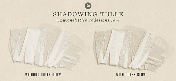 Drop Shadow Settings for Tulle | One Little Bird Designs