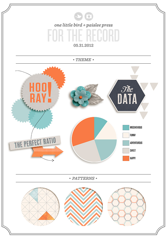 For The Record | Digital Scrapbooking Kit | One Little Bird & Paislee Press