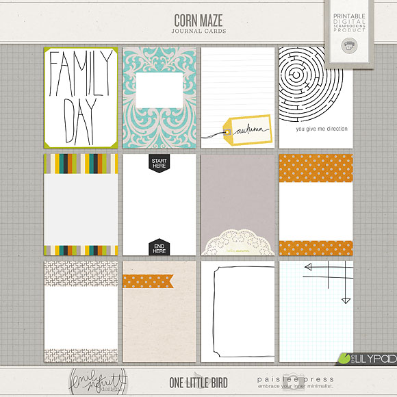 Corn Maze Journal Cards | One Little Bird + Emily Merritt Designs + Paislee Press