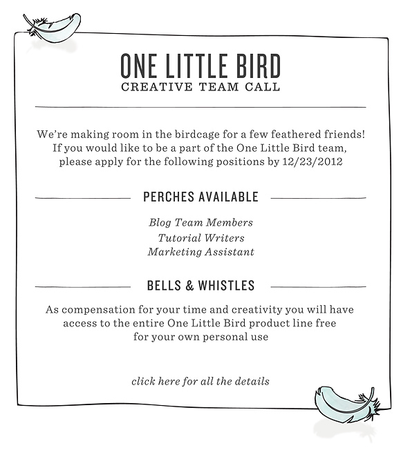 Creative Team Call | One Little Bird