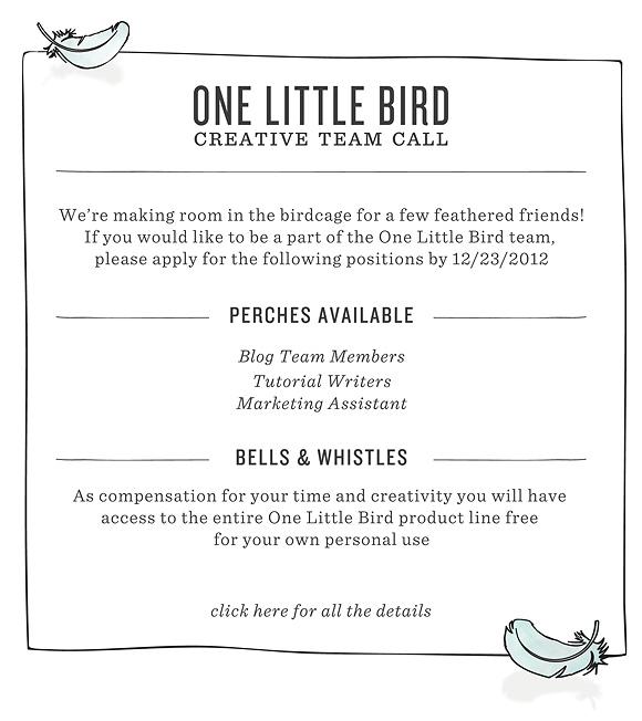 Creative Team Call | One Little Bird