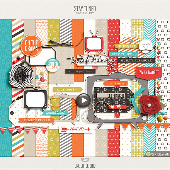 Stay Tuned | Digital Scrapbooking Kit | One Little Bird