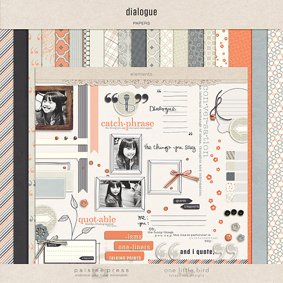 Dialogue Digital Scrapbooking Kit | One Little Bird + Paislee Press