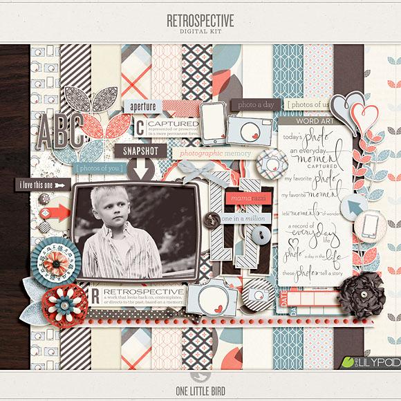 Retrospective | Digital Scrapbooking Kit | One Little Bird