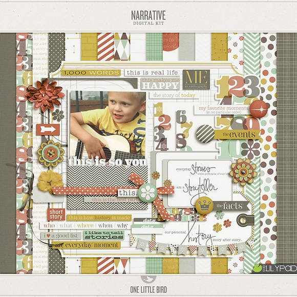 Narrative Digital Scrapbooking Kit by One Little Bird