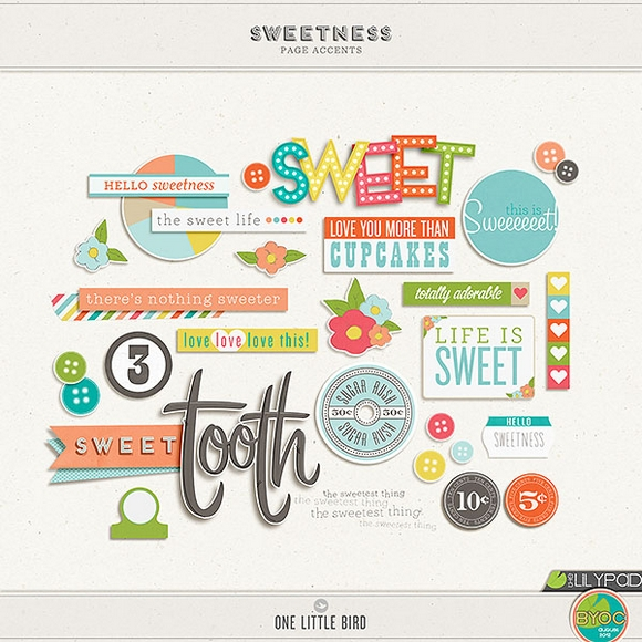 Sweetness | Digital Scrapbooking Elements | One Little Bird