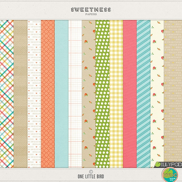 Sweetness | Digital Scrapbooking Papers | One Little Bird