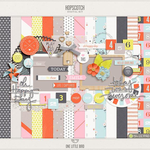 Hopscotch | Digital Scrapbooking Kit | One Little Bird