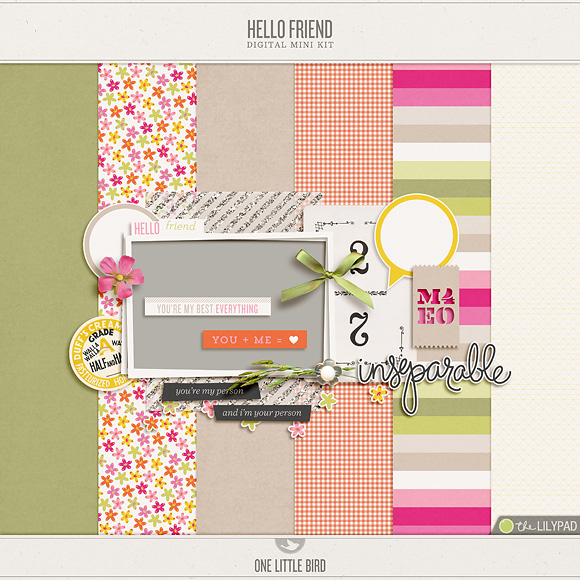 Hello Friend | Digital Scrapbooking Free Mini Kit | One Little Bird