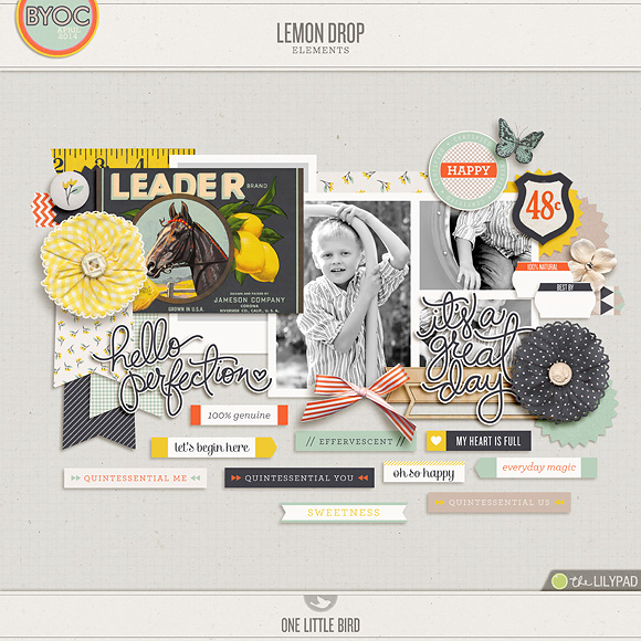 Lemon Drop | Digital Scrapbooking Elements | One Little Bird