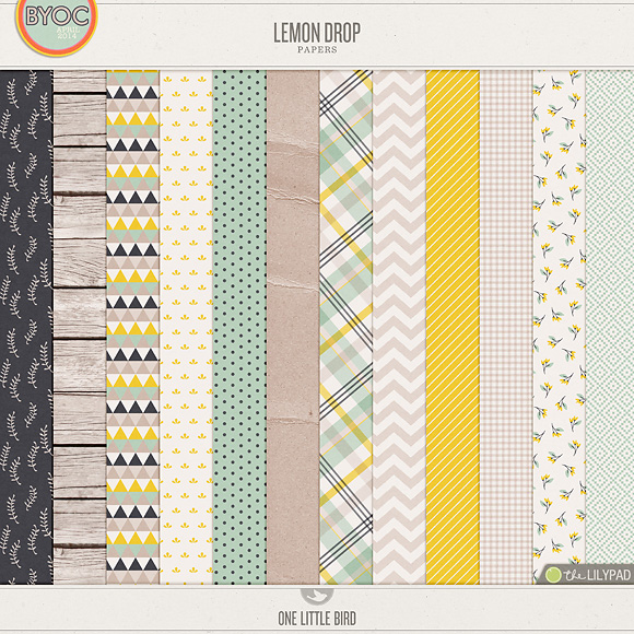 Lemon Drop | Digital Scrapbooking Papers | One Little Bird