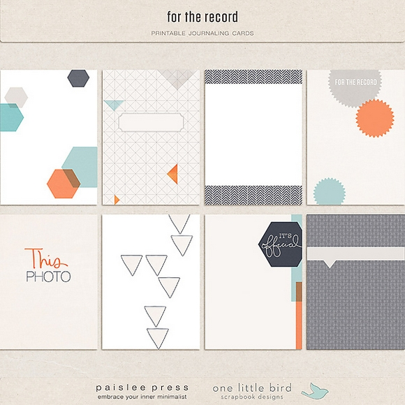 For The Record | Printable Journaling Cards | One Little BIrd + Paislee Press