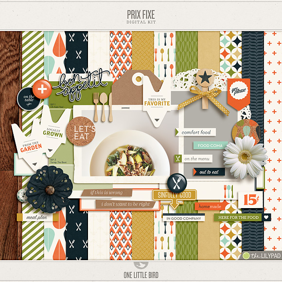 Prix Fixe | Digital Scrapbooking Kit | One Little Bird
