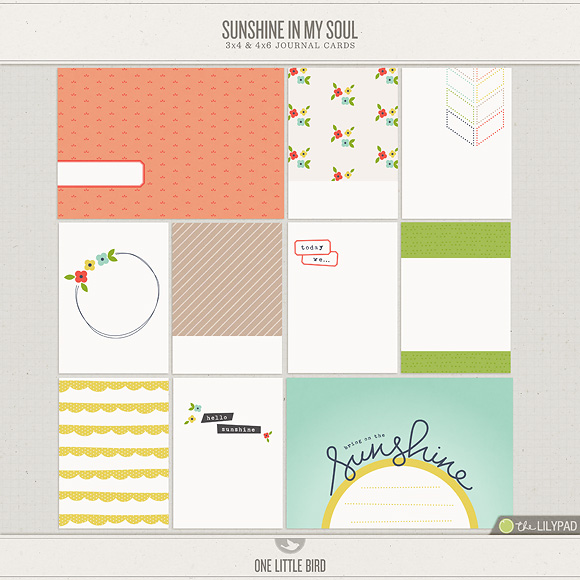 Sunshine In My Soul | Printable Journaling Cards | One Little Bird