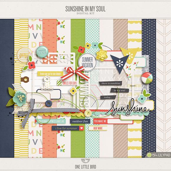 Sunshine In My Soul | Digital Scrapbooking Kit | One Little Bird