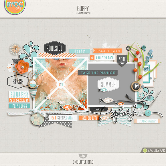 Guppy | Digital Scrapbooking Elements | One Little Bird