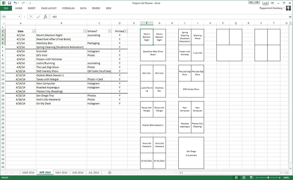 Planning Project Life Spreads in Excel | One Little Bird
