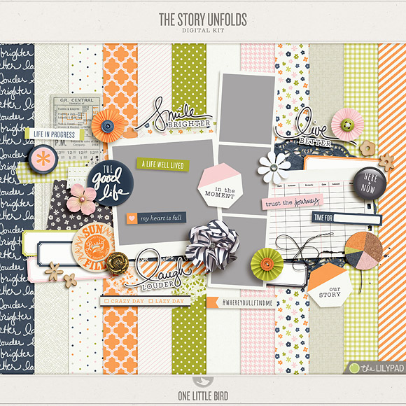 The Story Unfolds | Digital Scrapbooking Kit | One Little Bird