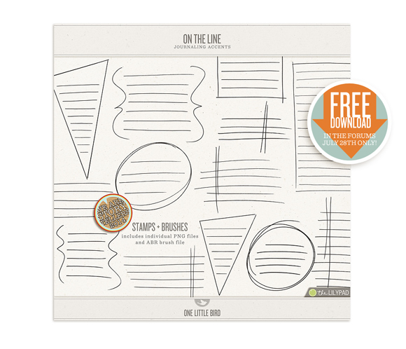 On The Line | Journaling Stamps & Brushes | One Little Bird