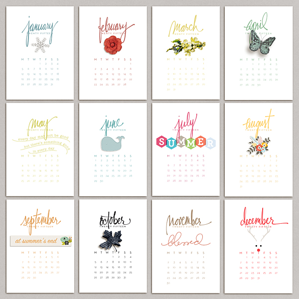 2015 Calendar Cards | by JenEm | One Little Bird
