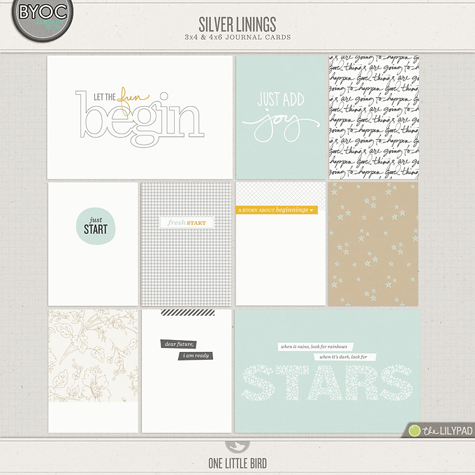 Silver Linings | Printable Journaling Cards |One Little Bird