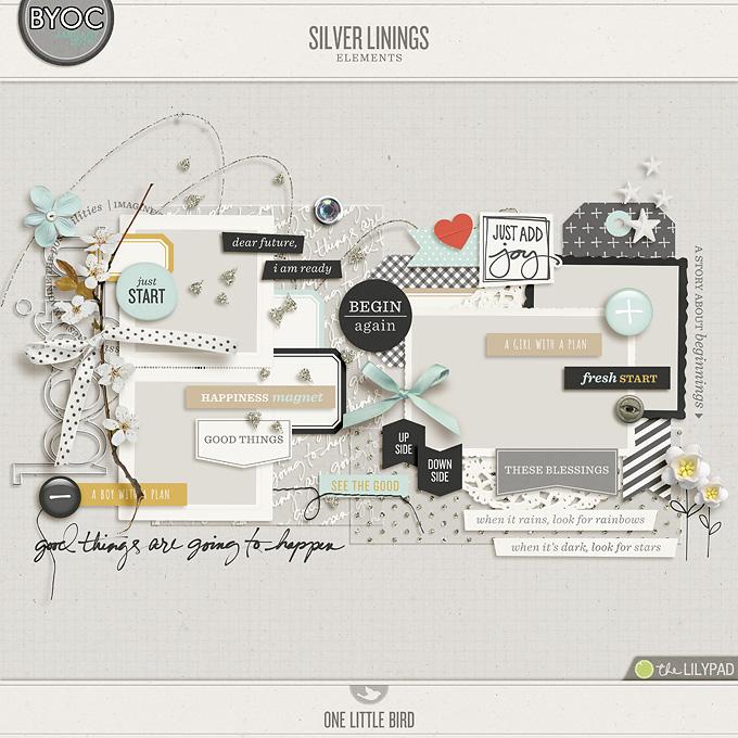 Silver Linings | Digital Scrapbooking Elements |One Little Bird