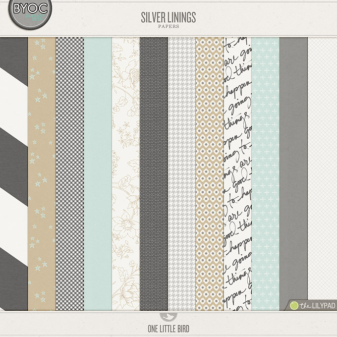 Silver Linings | Digital Scrapbooking Papers | One Little Bird