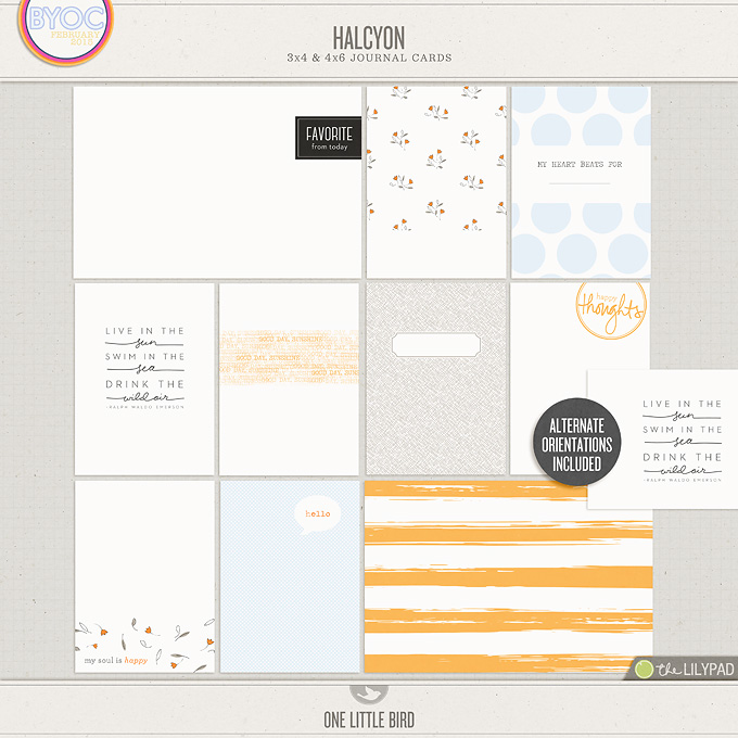 Halcyon | Printable Journaling Cards | One Little Bird