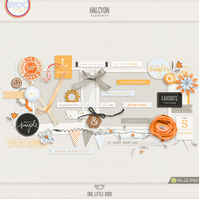 Halcyon | Digital Scrapbooking Elements | One Little Bird