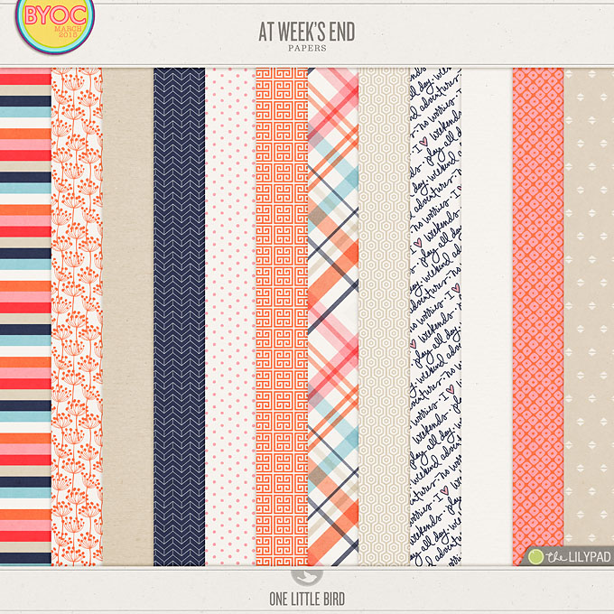 At Week's End | Digital Papers | One Little Bird
