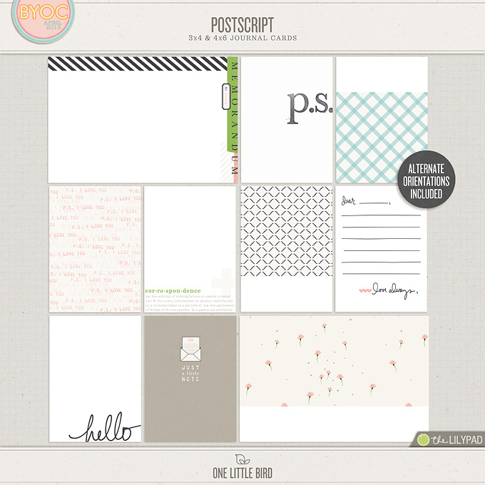 Postscript | Printable Journaling Cards | One Little Bird