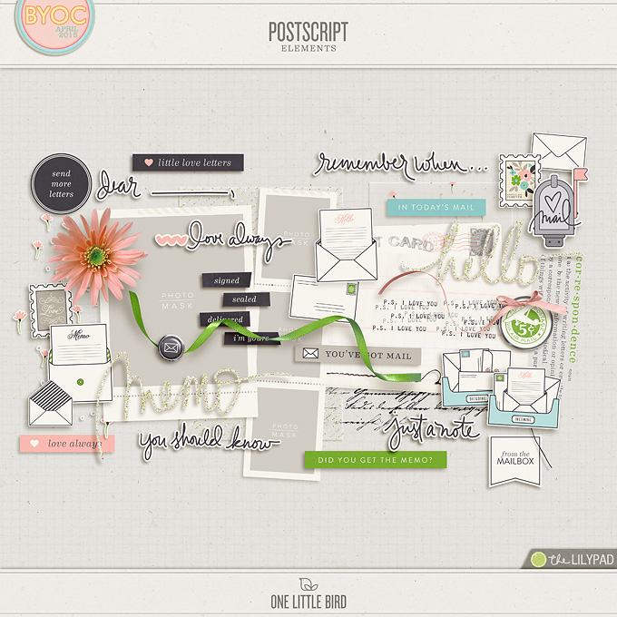 Postscript | Digital Scrapbooking Elements | One Little Bird
