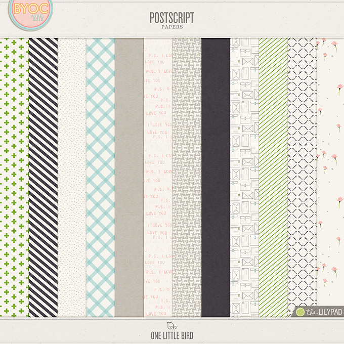 Postscript | Digital Scrapbooking Papers | One Little Bird