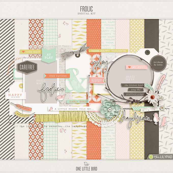 Frolic | Digital Scrapbooking Kit | One Little Bird