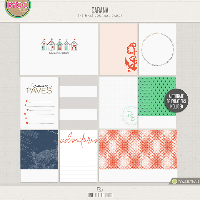 Cabana | Printable Journaling Cards | One Little Bird
