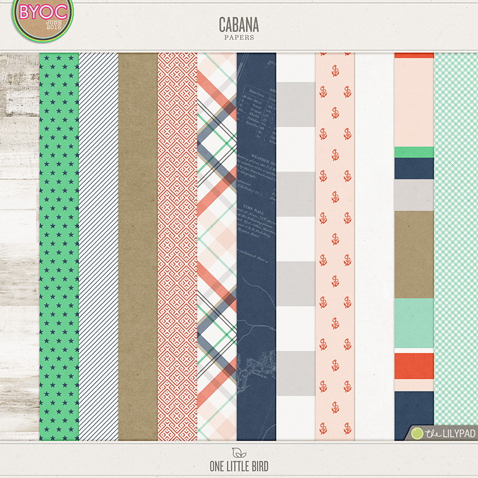 Cabana | Digital Papers | One Little Bird