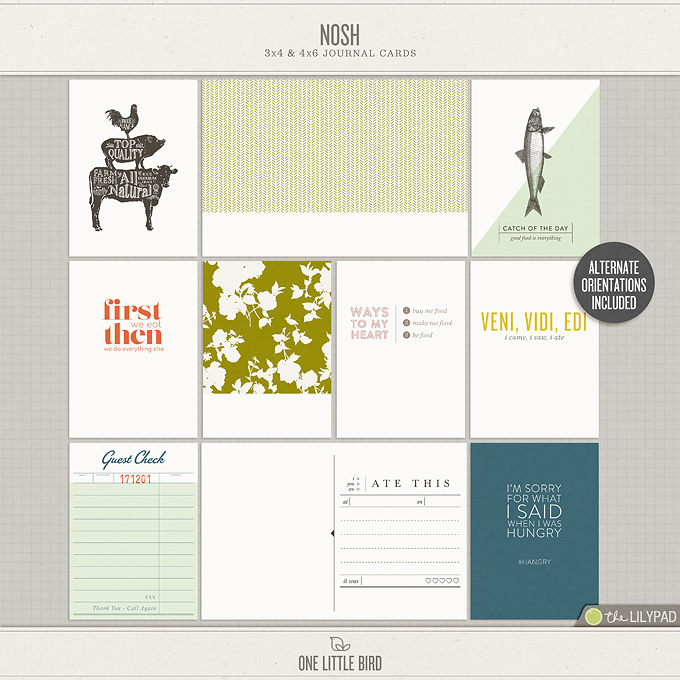 Nosh | | Printable Journaling Cards | One Little Bird