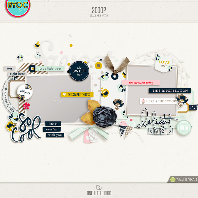 Scoop | Digital Scrapbooking Elements | One Little Bird