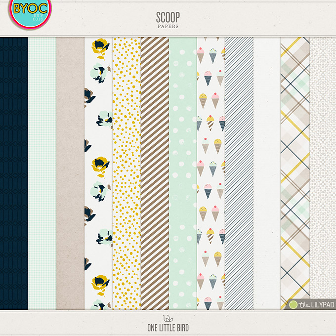Scoop | Digital Scrapbooking Papers | One Little Bird