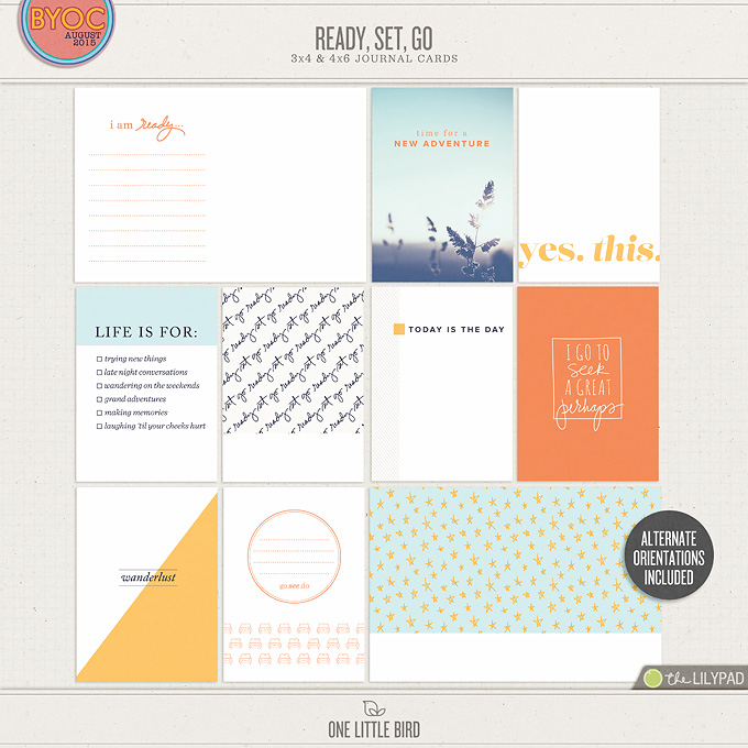 Ready Set Go | Printable Journaling Cards | One Little Bird