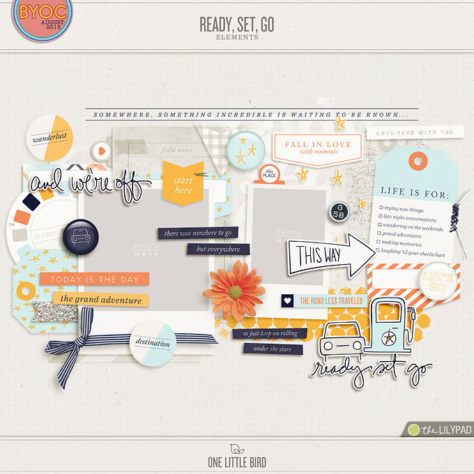 Ready Set Go | Digital Scrapbooking Kit | One Little Bird