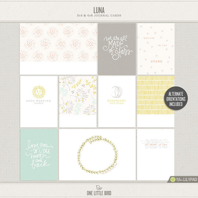 Luna | Printable Journaling Cards | One Little Bird