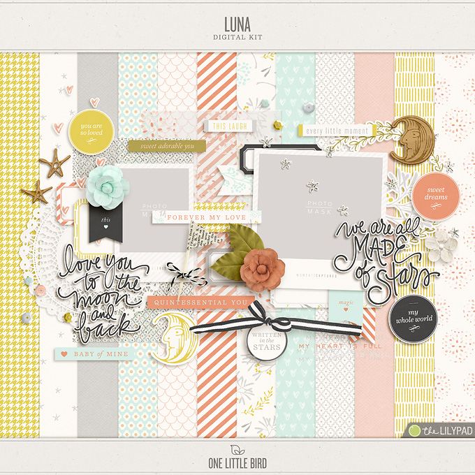 Luna | Digital Scrapbooking Kit | One Little Bird