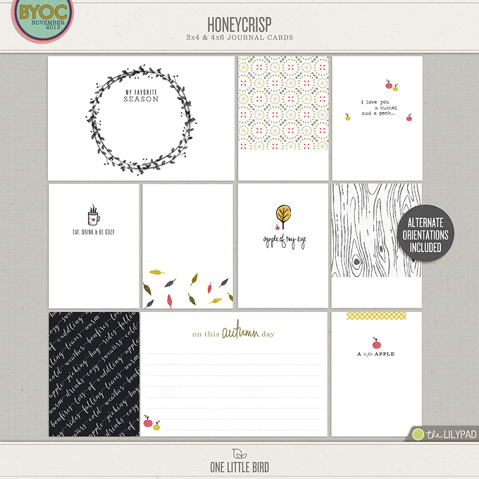 Honeycrisp | Printable Journaling Cards | One Little Bird