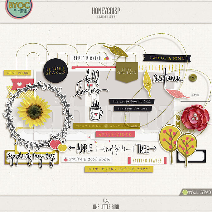 Honeycrisp | Digital Scrapbooking Elements | One Little Bird