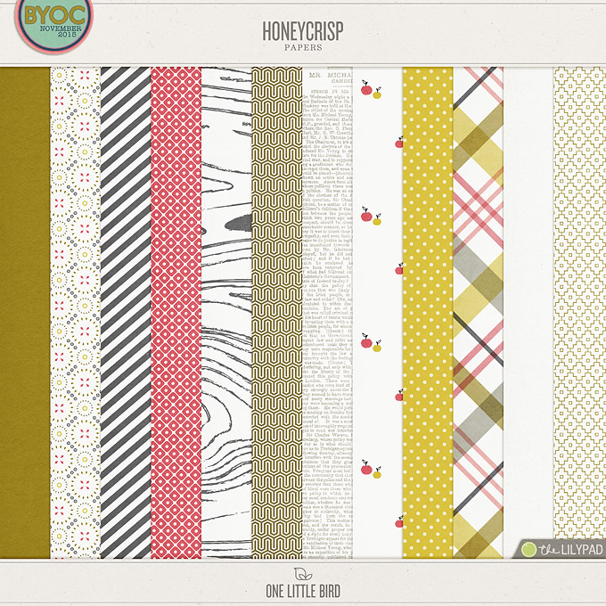 Honeycrisp | Digital Scrapbooking Papers | One Little Bird