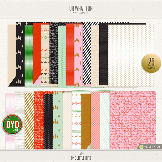 Oh What Fun | 6x8 Digital Papers | One Little Bird