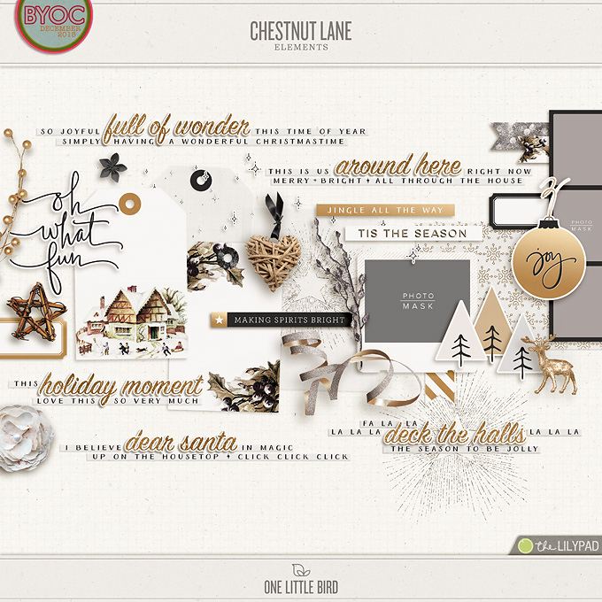 Chestnut Lane | Digital Scrapbooking Elements | One Little Bird
