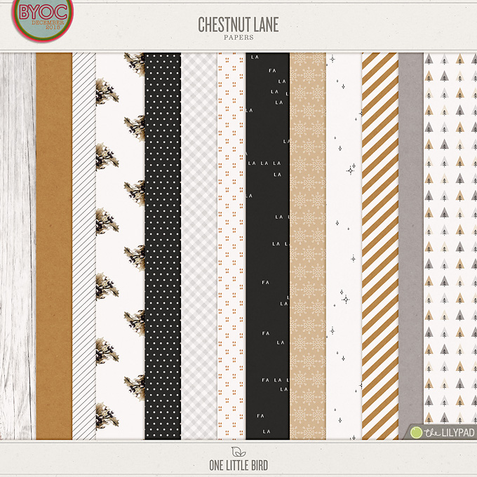 Chestnut Lane | Digital Scrapbooking Papers | One Little Bird