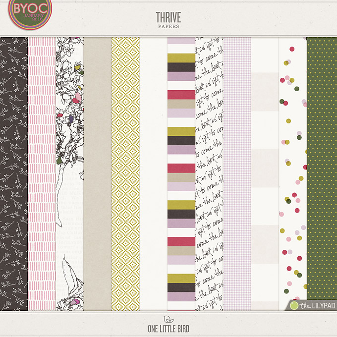Thrive | Digital Scrapbooking Papers | One Little Bird